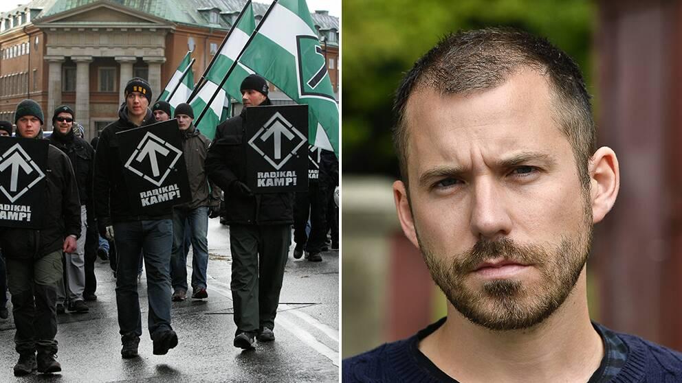 Svenska motståndsrörelsen marscherar till vänster. Daniel Poohl, chefredaktör för den antirasistiska tidningen Expo, till höger.