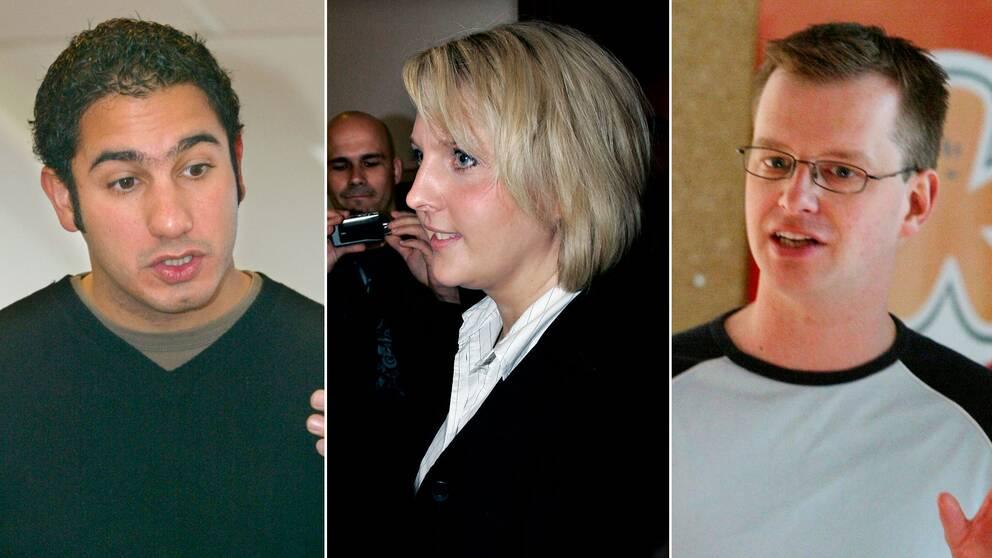 Ardalan Shekarabi, Anna Sjödin och Mikael Damberg, tidigare ordföranden i SSU