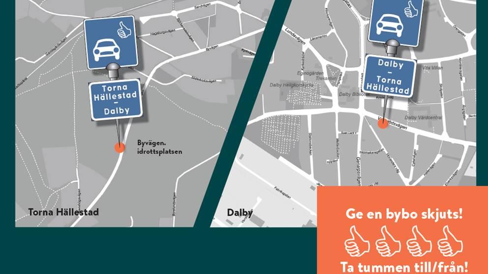 Det blir en hållplats i Hällestad och en i Dalby.