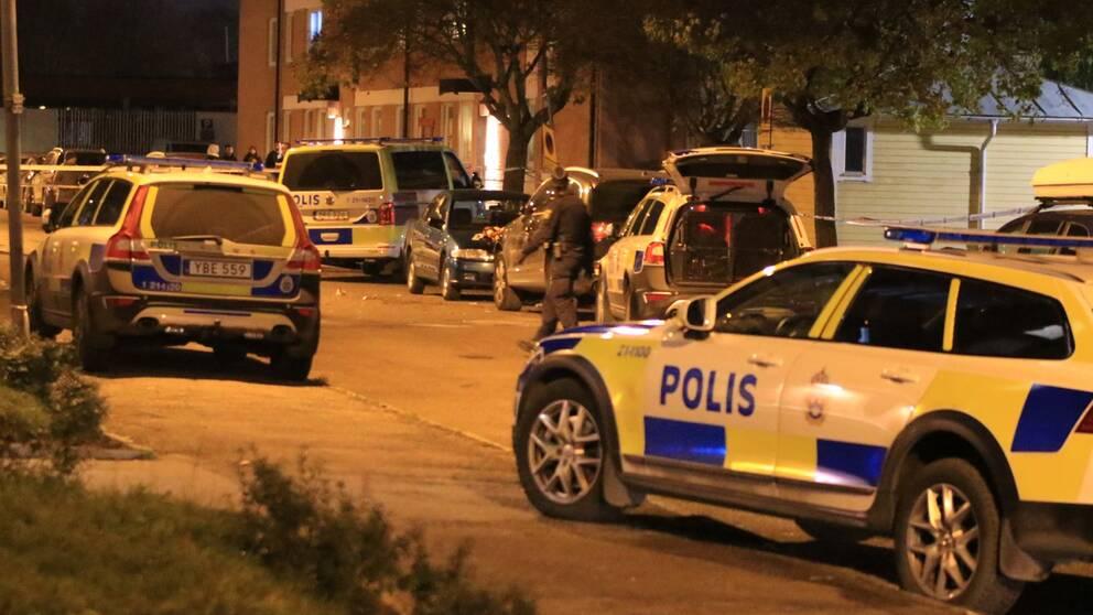 Ett flertal polisbilar är på plats i bostadsområdet efter skottlossningen.