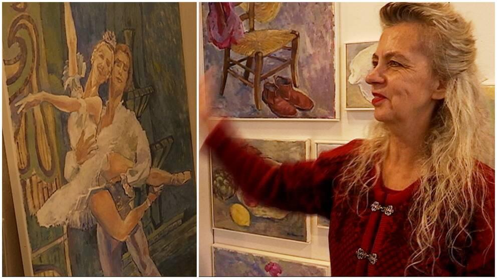 Eva Bernholm framför sina tavlor