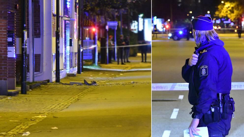 Polisen spärrade av ett stort område utanför fastigheten där någonting detonerat.
