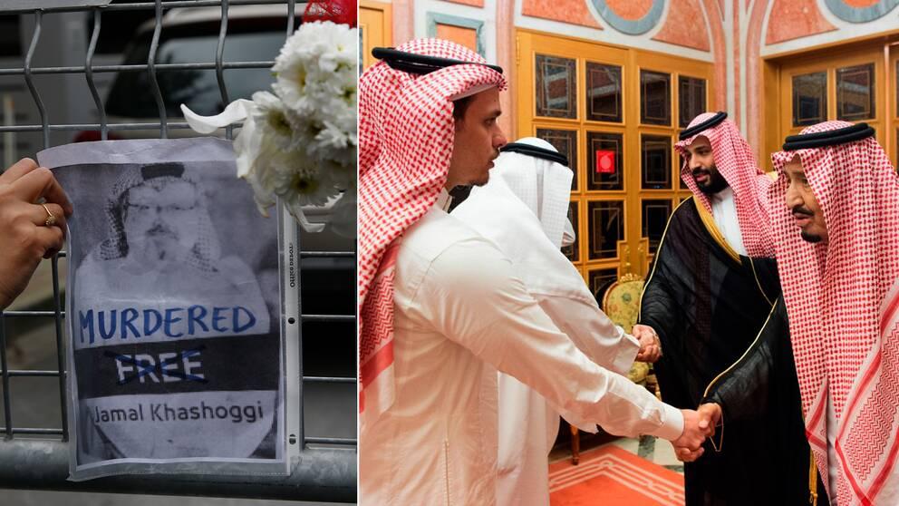 En bild på Khashoggi som hängts upp utanför Saudiarabiens konsulat i Turkiet (t.v). Till höger Salah Khashoggi när han och flera andra familjemedlemmar träffade den saudiske kungafamiljen. De bjöds in efter att pappan dödats på konsulatet.