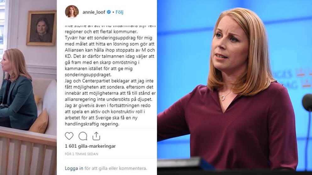Annie Lööf beklagar att hon inte fått sonderingsuppdraget i ett inlägg på Instagram.