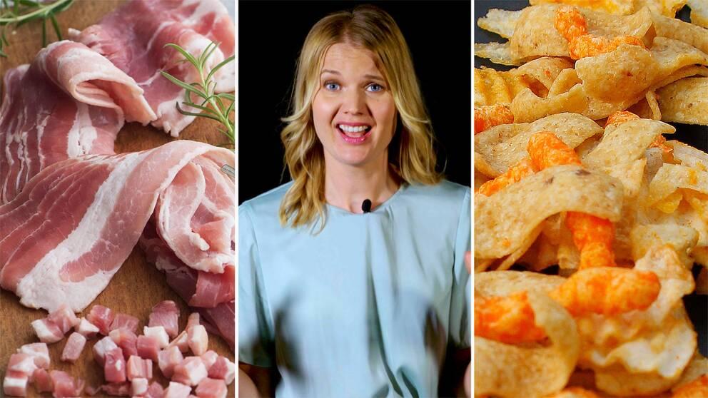 Bacon, Emma Frans och chips.