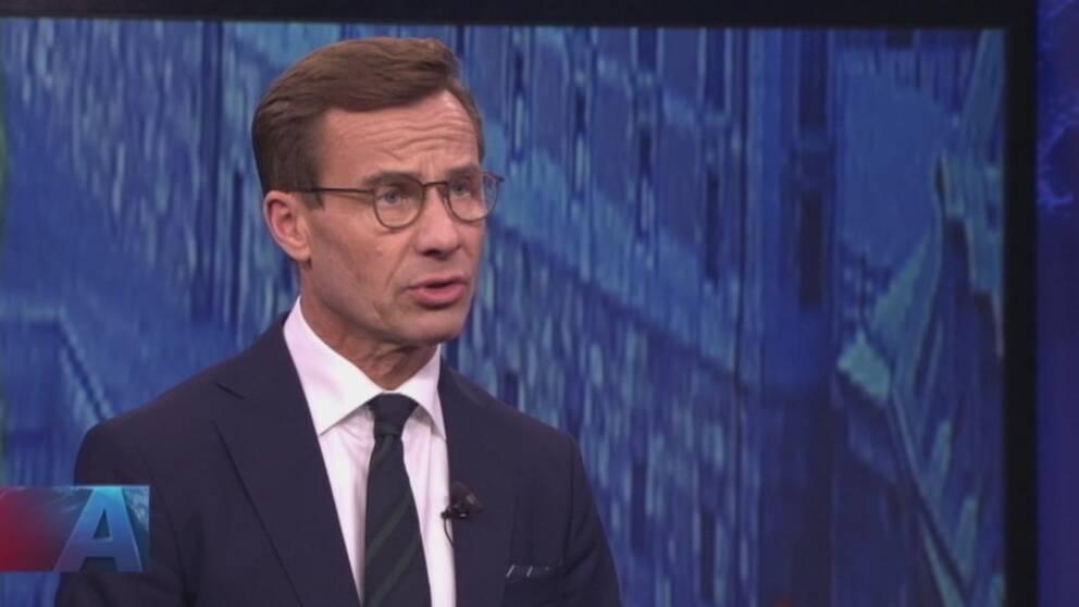 Moderaternas partiledare Ulf Kristersson i Aktuellt-studion.