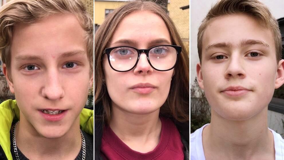 Porträtt på Zeb Svensson, Moa Thyrén och Anton Malm.