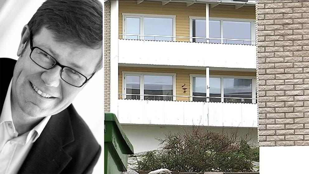 dubbelbild: porträtt på man med glasögon och fasad på lägenhetshus