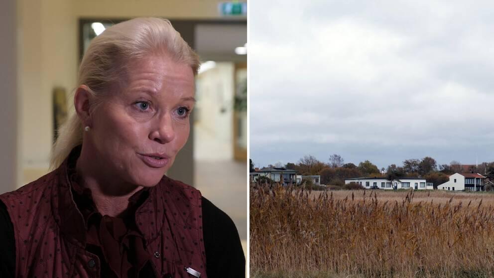Carina Wutzler (M) kommunstyrelsens ordförande i Vellinge kommun och ett öppet fält med vass med hus långt bort.