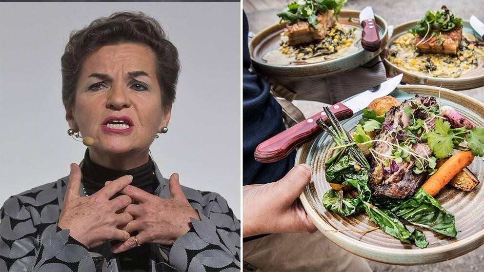 FN:s före detta klimatchef Christiana Figueres och kökspersonal som serverar kött.