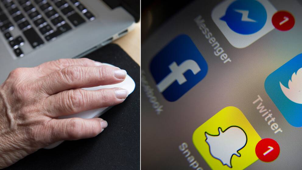Montage. Bild på socala medier på en telefon samt en äldres persons hand på en datormus.