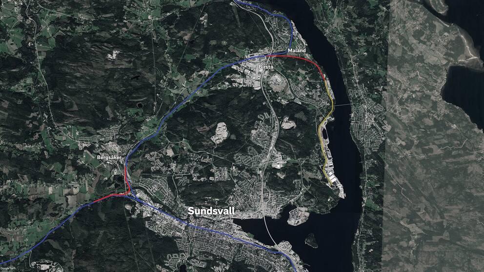 karta över järnvägsprojekten i Sundsvall