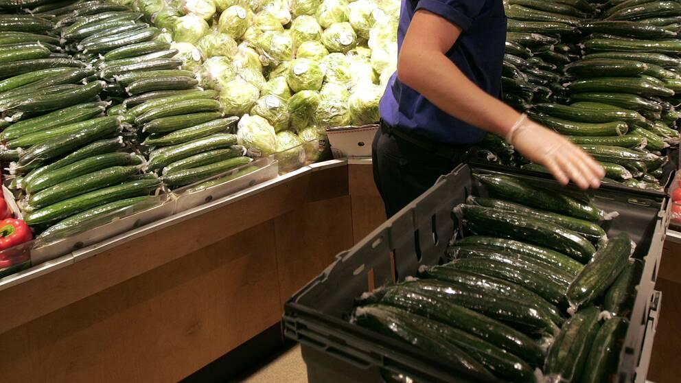 Grönsaksavdelningen i en matbutik.