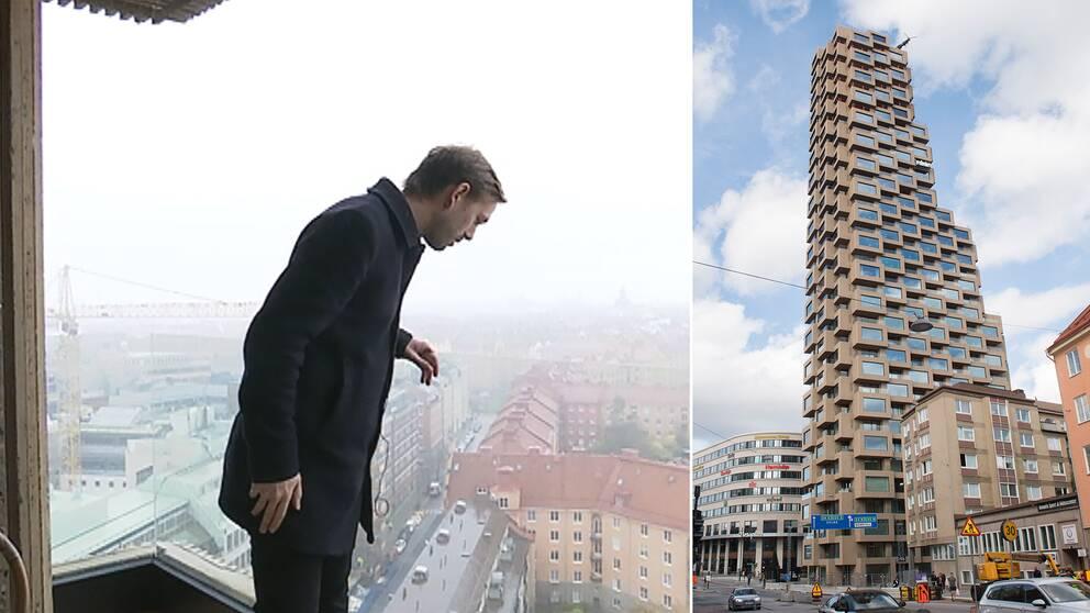 Norra tornen och reporter som tittar ner.