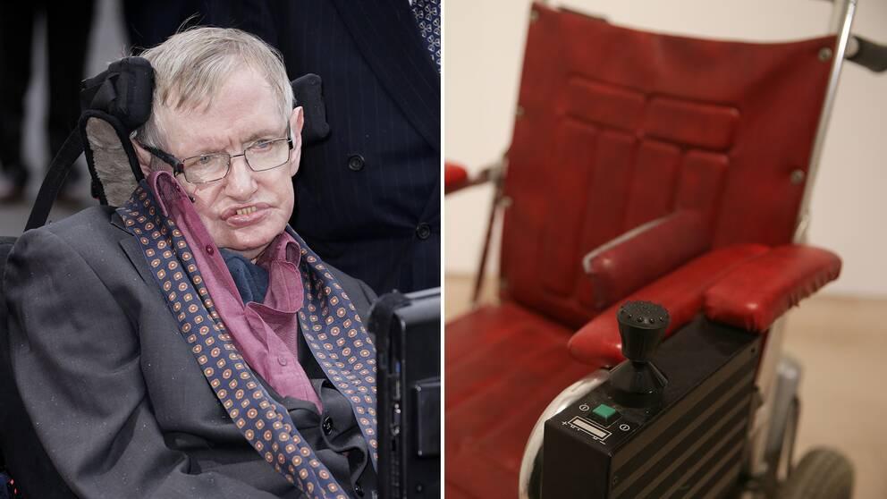 Hawkings rullstol från 1980-talet är en av vetenskapsmannens ägodelar som auktioneras ut i London.