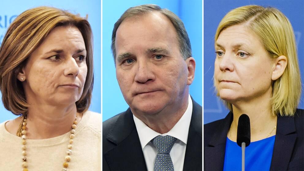 Isabella Lövin, Stefan Löfven och Magdalena Andersson.