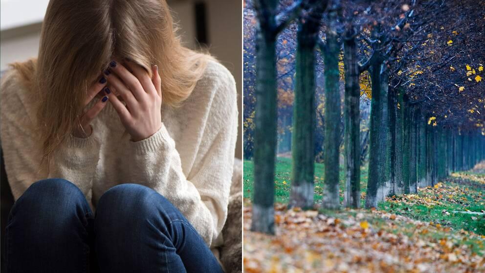 En ung kvinna som sitter med ansiktet i händerna och en bild på höstväder.