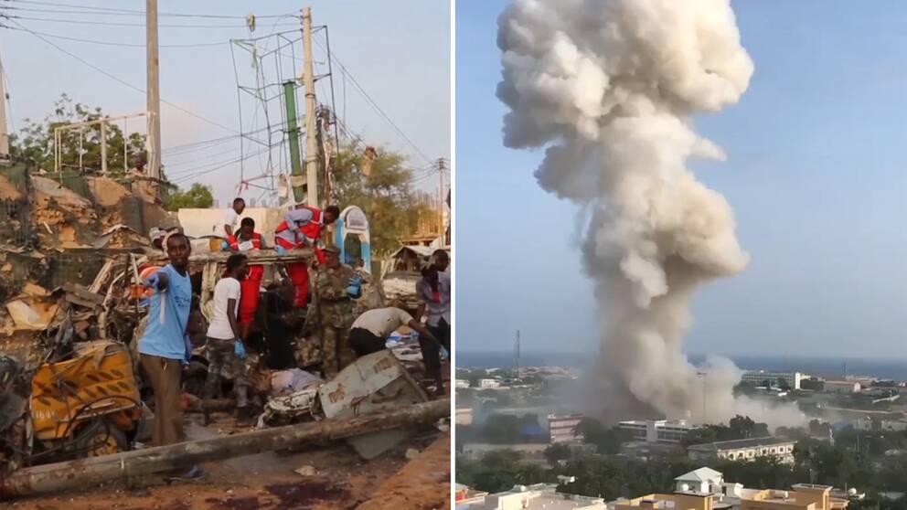 Hjälparbetare vid attentatsplatsen står kring och på en utbränd bil. Till vänster en plym av rök från en av explosionerna i Mogadishu.