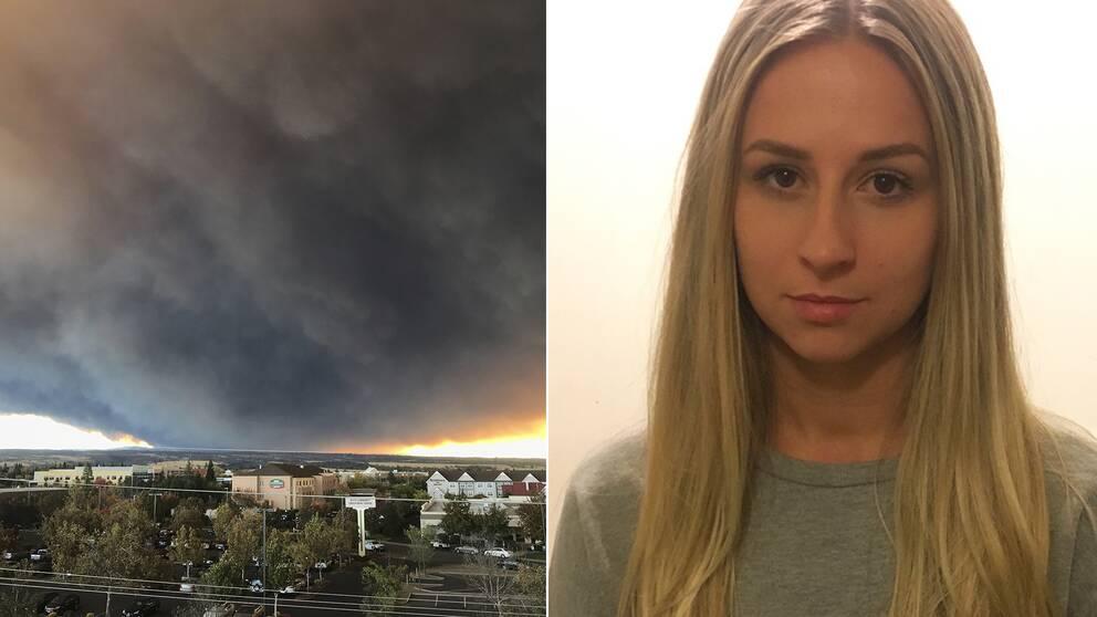21-åriga Sofia Hansson från Lund pluggar i Chico i Kalifornien. I torsdags lämnade hon staden på grund av rädsla för att branden som sprider sig dit från staden Paradiso.