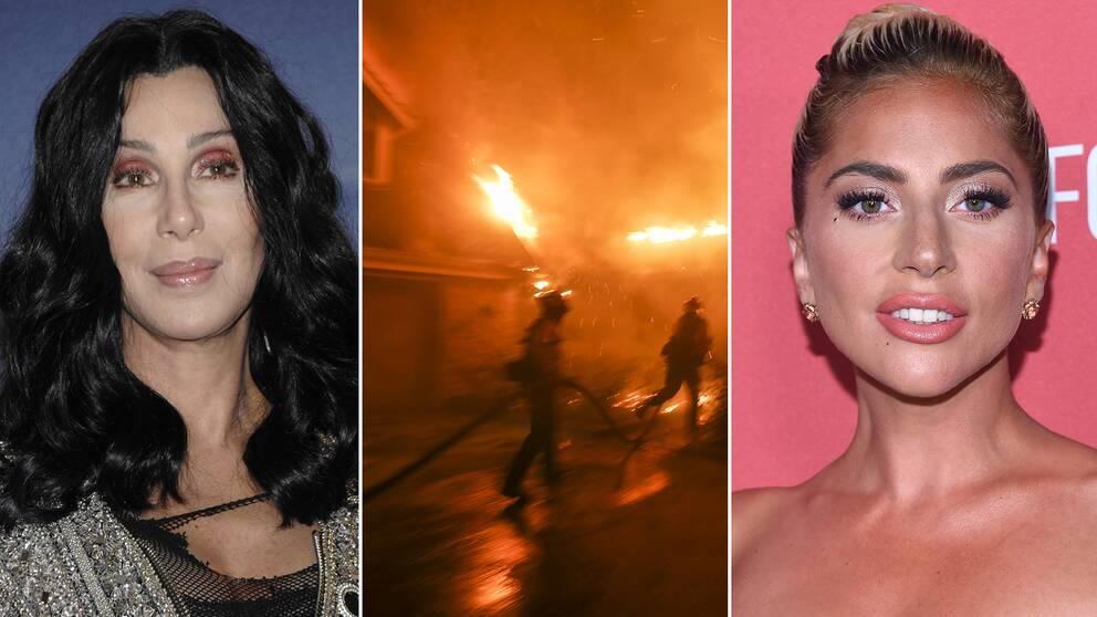 Artisterna Lady Gaga och Cher är två av kändisarna som drabbas av branden som härjar i Malibu i Kalifornien.