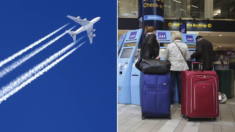 Ett flygplan och resenärer.
