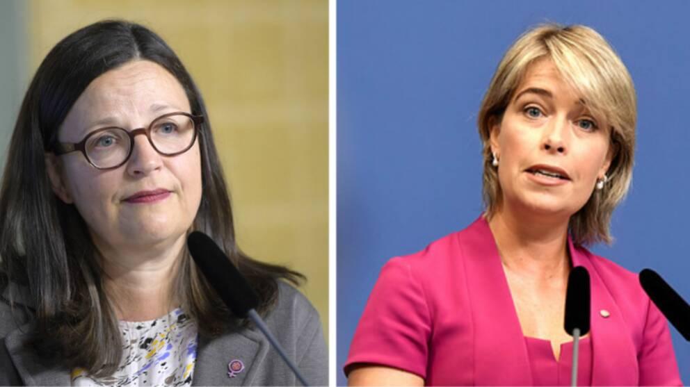 Ministrarna Annika Strandhäll och Anna Ekström tände ett ljus för den tolvårige pojken som förmodas ha omkommit i ån Ätran i Halland.