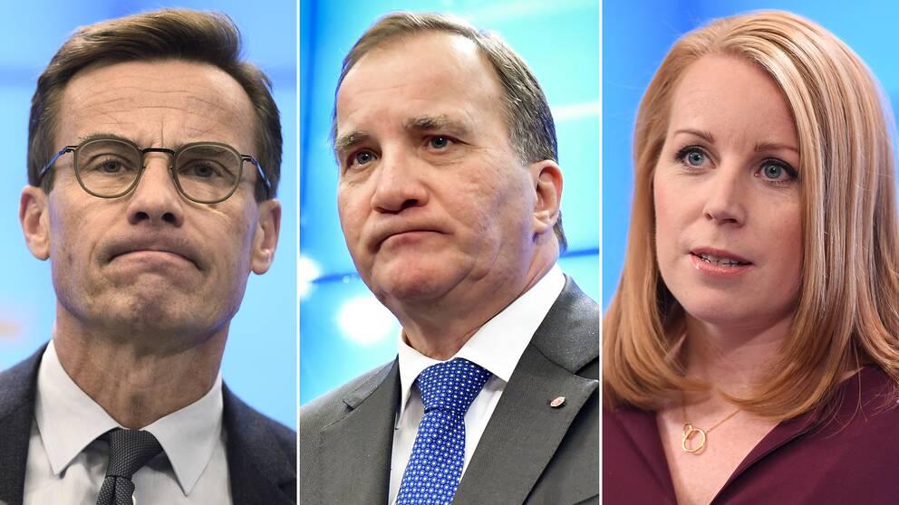 Moderaternas partiledare Ulf Kristersson, Socialdemokraternas partiledare Stefan Löfven, och Centerpartiets partiledare Annie Lööf.