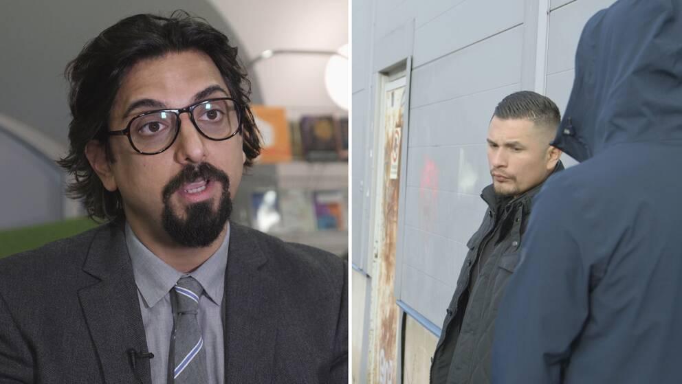Forskaren Amir Rostami till vänster. Till höger Rene Lobo och en anonymiserad person med jacka och ryggen vänd.