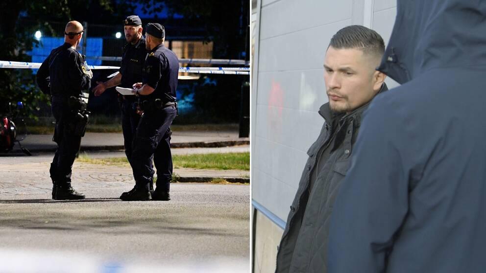 Två bilder, en på tre poliser i ett samtal och en på Rene Lobos som uttalar sig i texten.