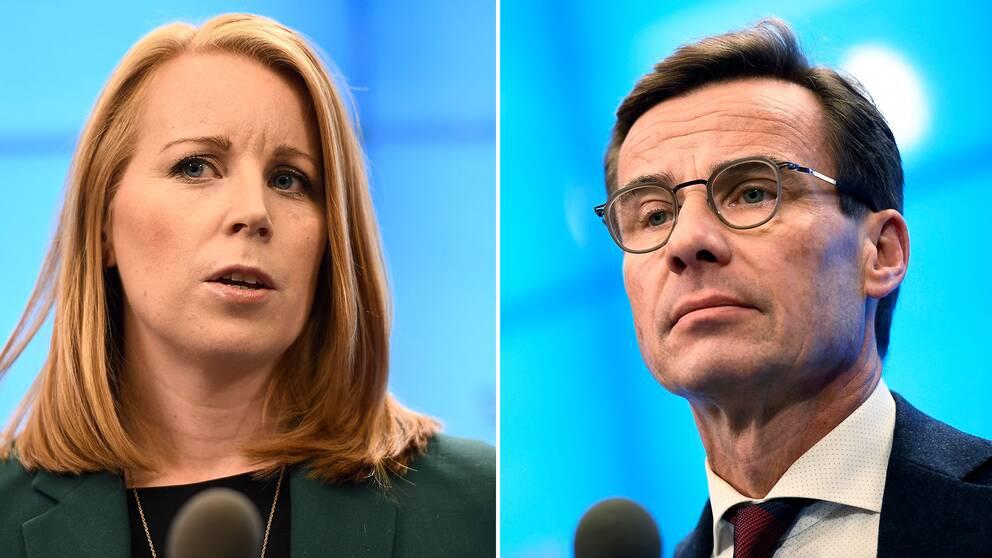 Annie Lööf (C) och Ulf Kristersson (M) riktar kritik mot varandra i sociala medier-poster