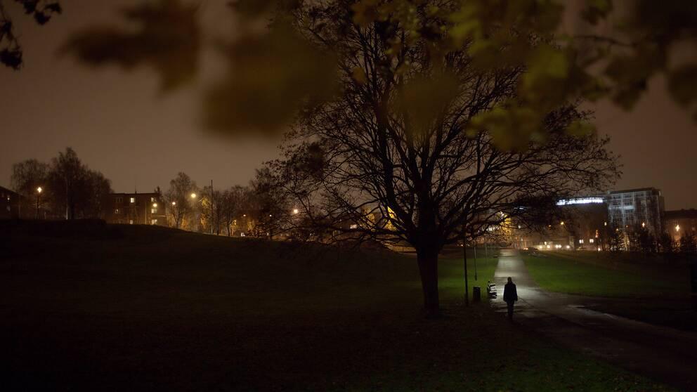 En kvinna promenerar i en park.