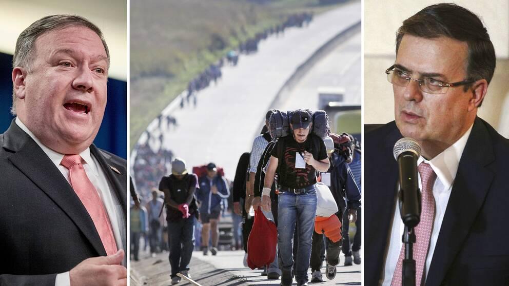 USA:s utrikesminister Mike Pompeo (till vänster) ska nu träffa Mexikos tillträdande motsvarighet, Marcelo Ebrard, för att bland annat diskutera migrantströmmen som närmar sig den amerikanska gränsen