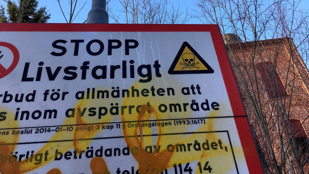 Förbudsskylt vid Nyhamnsfabriken