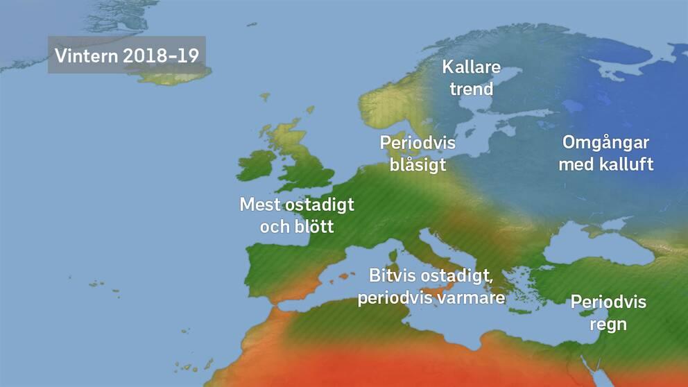 Karta Over Spaniens Vastkust.Vintern 2018 2019 Omgangar Med Kyla Senare I Vinter Svt Nyheter