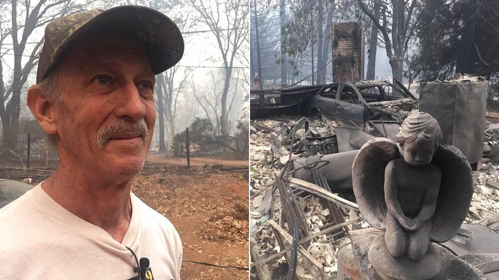 Stewart Nugent lyckades rädda sitt hus från elden. Resten av staden Paradise brann.