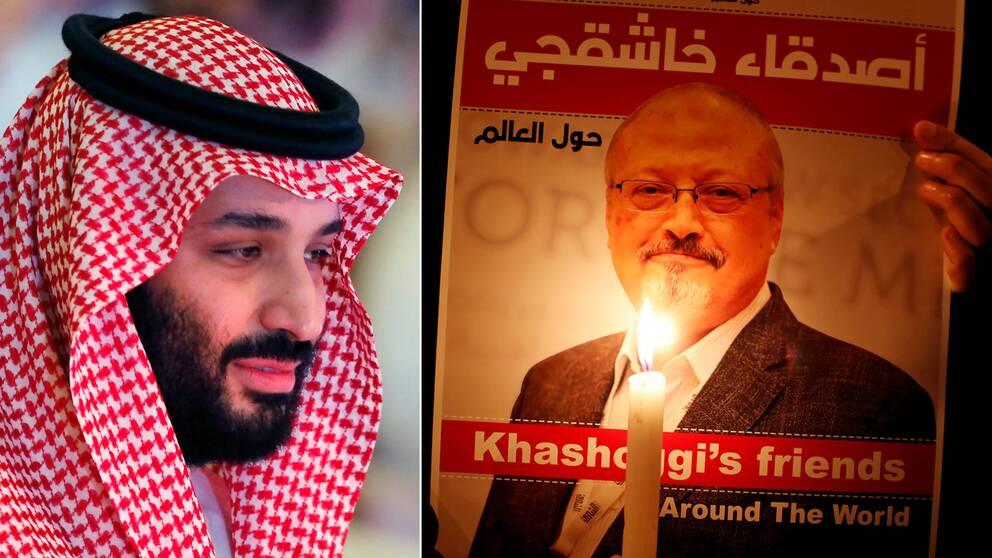 USA inför sanktioner mot bland annat en tidigare nära rådgivare till kronprins Mohammed bin Salman (t.v).