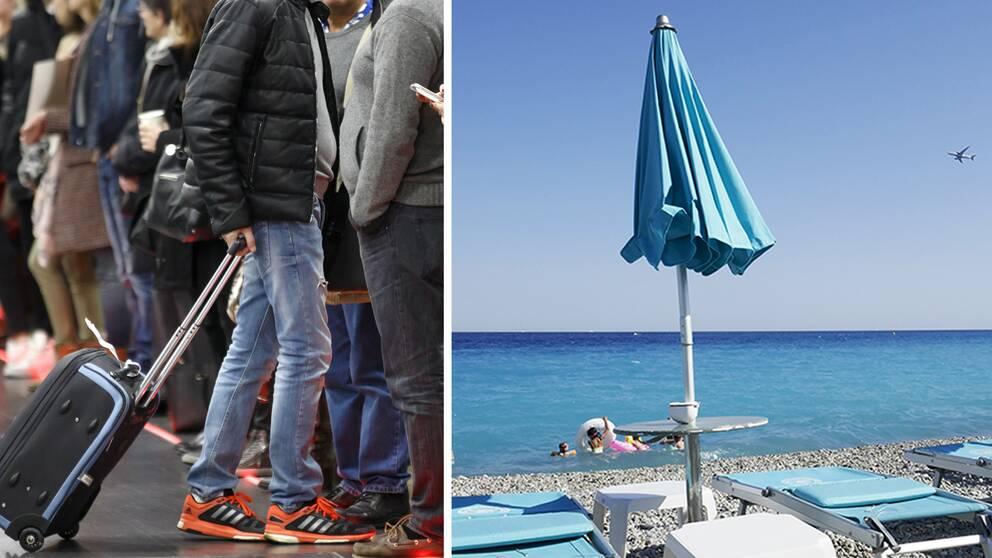 En man med rullväska, fler perosner i bakgrunden som väntar och köar. Infälld bild på ett blått parasoll på en strand.