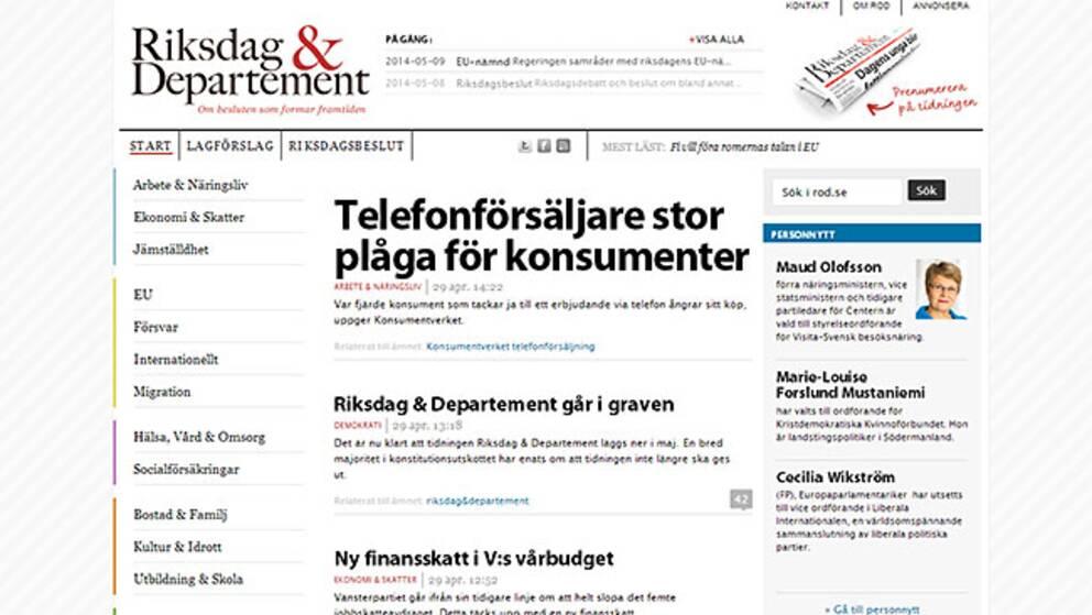 Riksdag & Departements sajt.