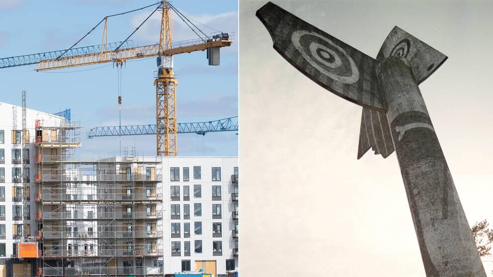 Till vänster: bygge i Barkarby, till höger: Picassoskulpturen i Kristinehamn i Värmland.