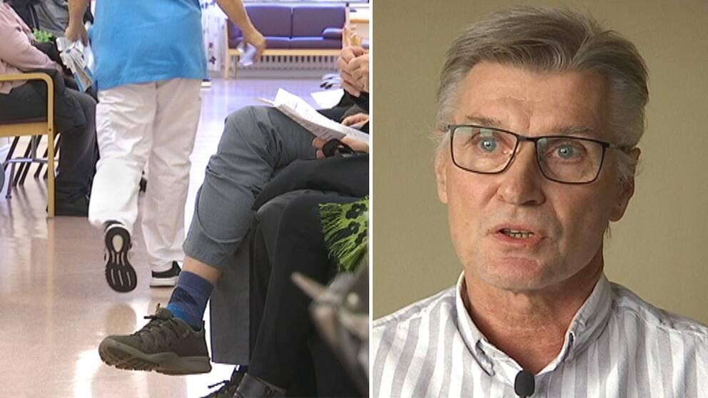 bild från väntrum vårdcentral, och nära bild på intervjuad medelålders man