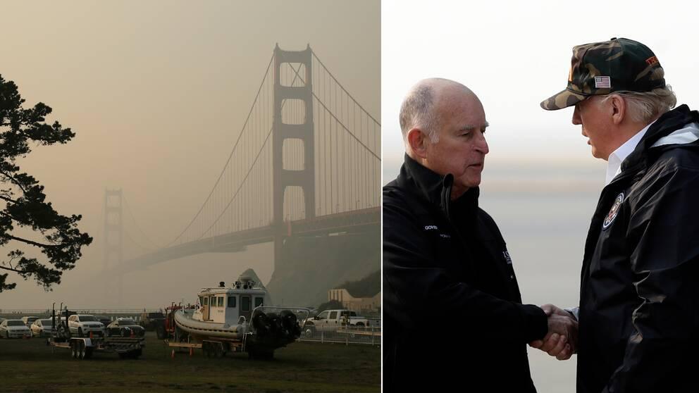 Till höger Donald Trump som skakar hand med Kaliforniens guvernör Jerry Brown efter att ha stigit av planet under lördagen.Till vänster Golden Gate-bron i röken från bränderna.