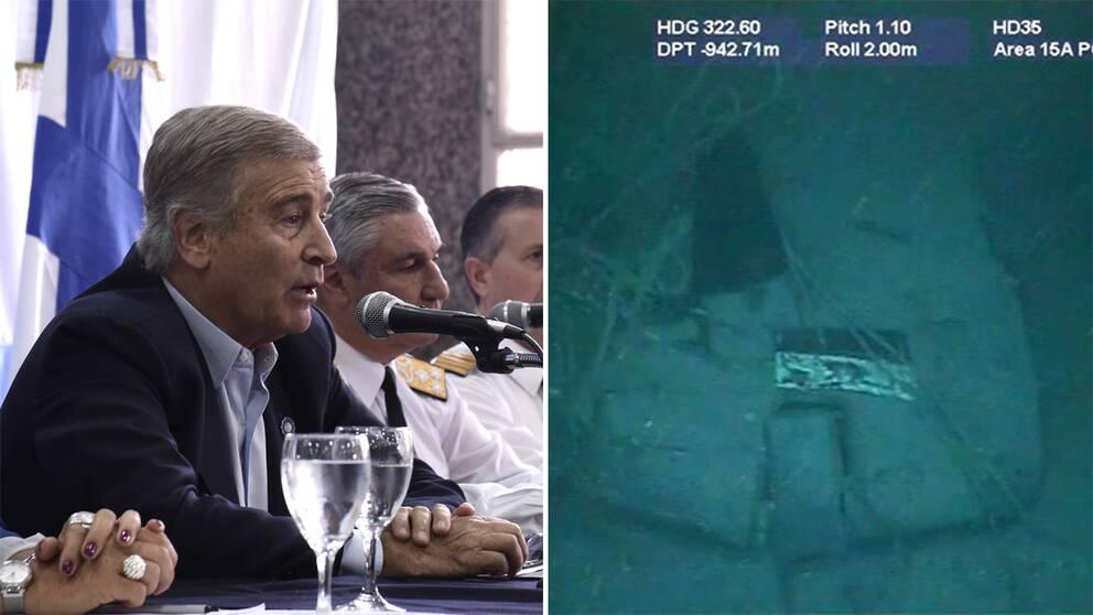 Argentinas försvarsminister Oscar Aguad berättar om landets svårigheter att bärga ubåten San Juan som försvann den 15 november 2017.