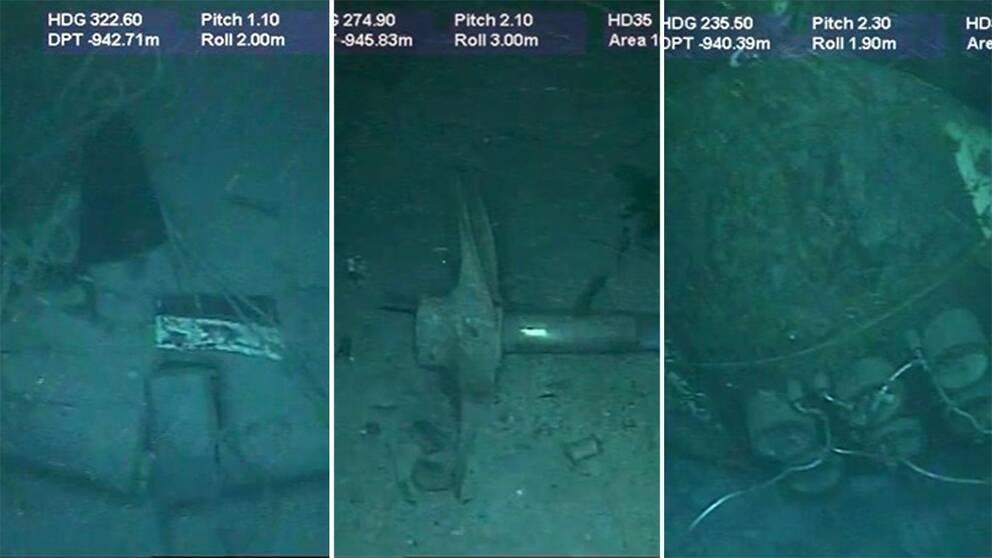 Nya bilder visar vrakdelar från ubåten Ara San Juan.