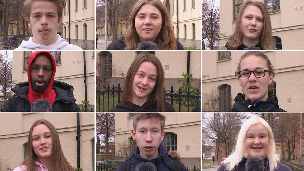 Nio olika bilder på elever som tittar in i kameran.