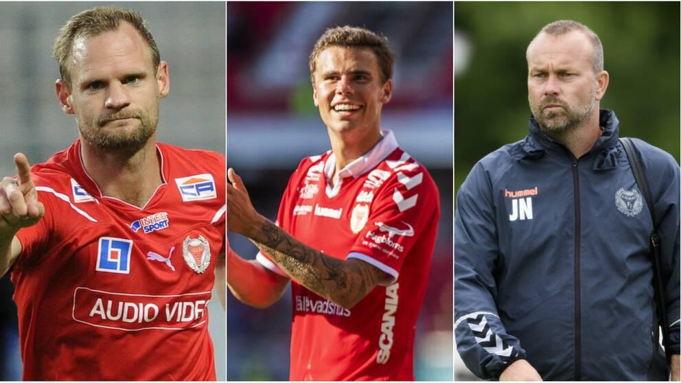 Förre Kalmarspelaren Tobias Carlsson, nuvarande spelaren Herman Hallberg och akademichefen Jens Nilsson.