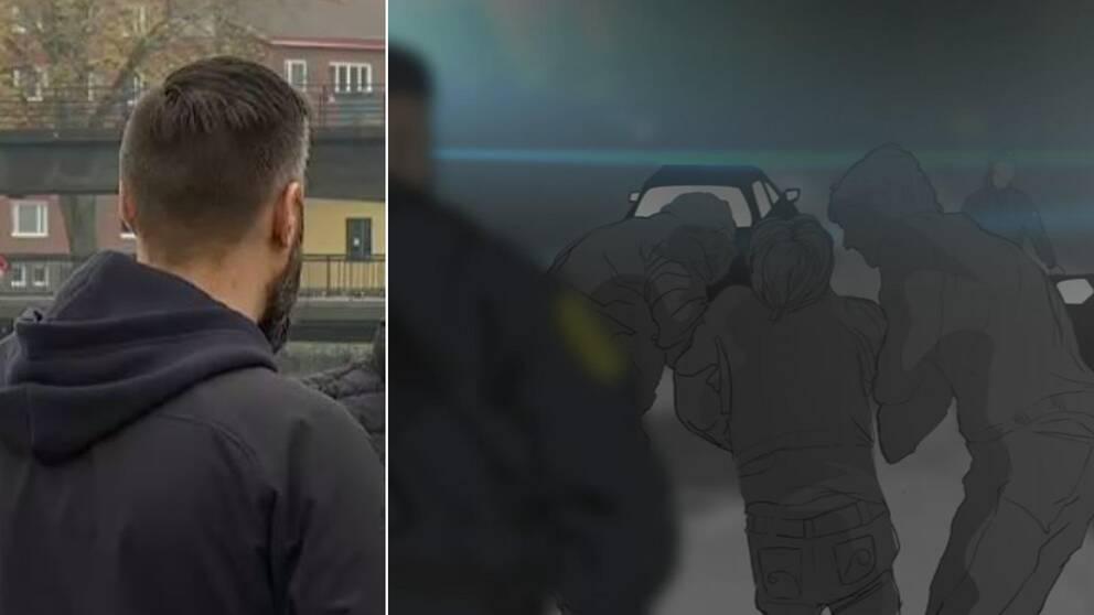 Polisspanarens bakhuvud syns på ena sidan och till höger en tecknad bild av en person som grips av två civila poliser.