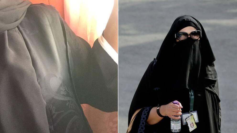 En in och utvänd abaya och en kvinna i abaya.