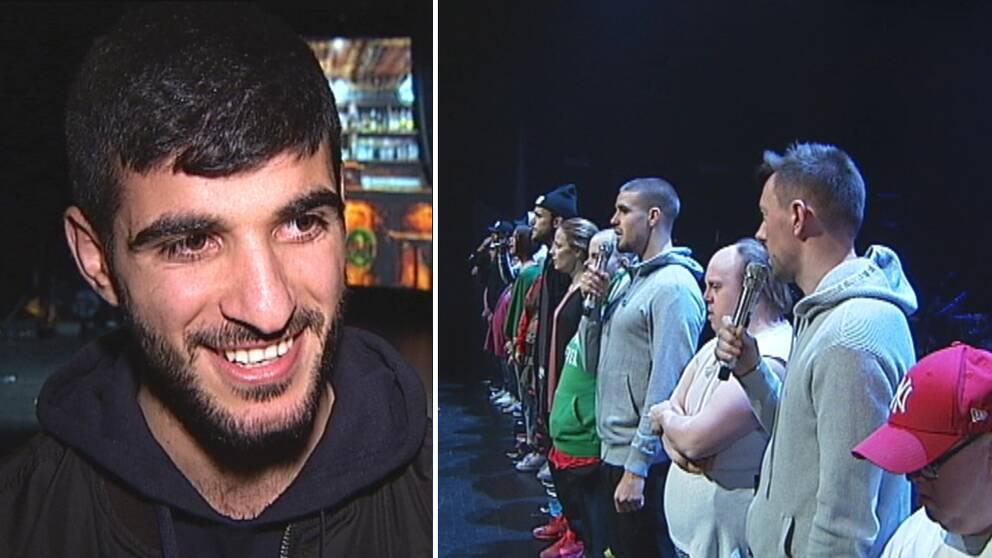 delad bild: en leende ung man, och en rad människor som sjunger på scen