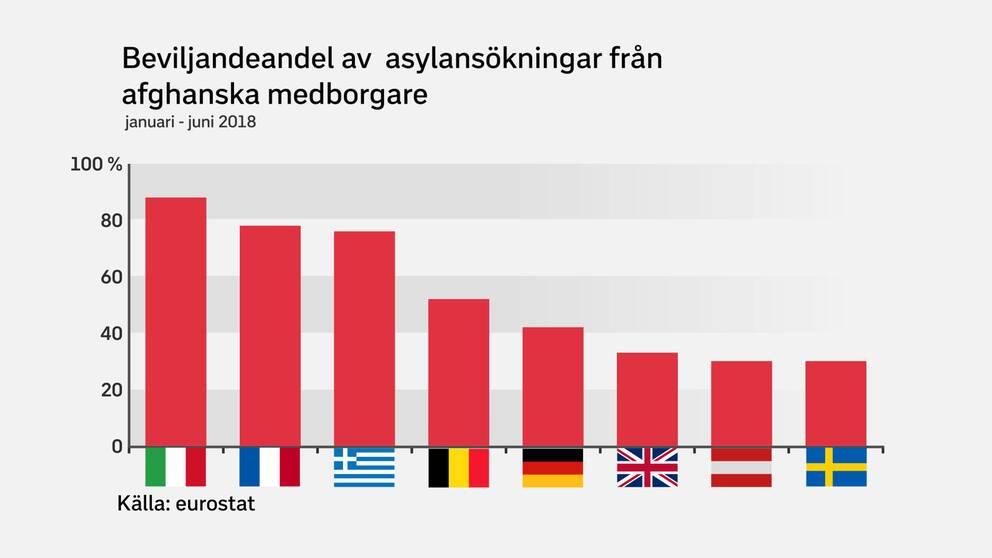 Från vänster: Italien, Frankrike, Grekland, Belgien, Tyskland, Storbritannien, Österrike och Sverige är de åtta länder som hanterar i princip samtliga asylärenden med afghanska medborgare i EU.