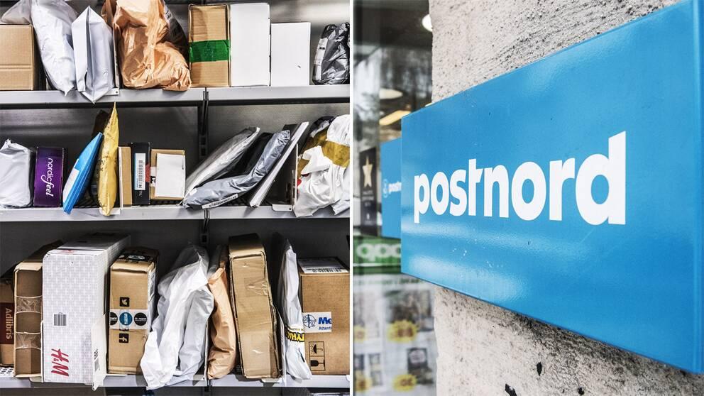 Bilder på paket och en Postnord-logotyp.